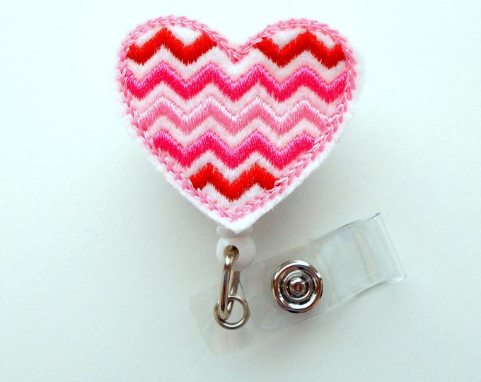 Chevron Pink and Red Heart - Cute Badge Reel - Nurse Badge Holder - Nursing Badge Clip - Teacher Badge Reel - RN Badge Clip - Cardiac Badge