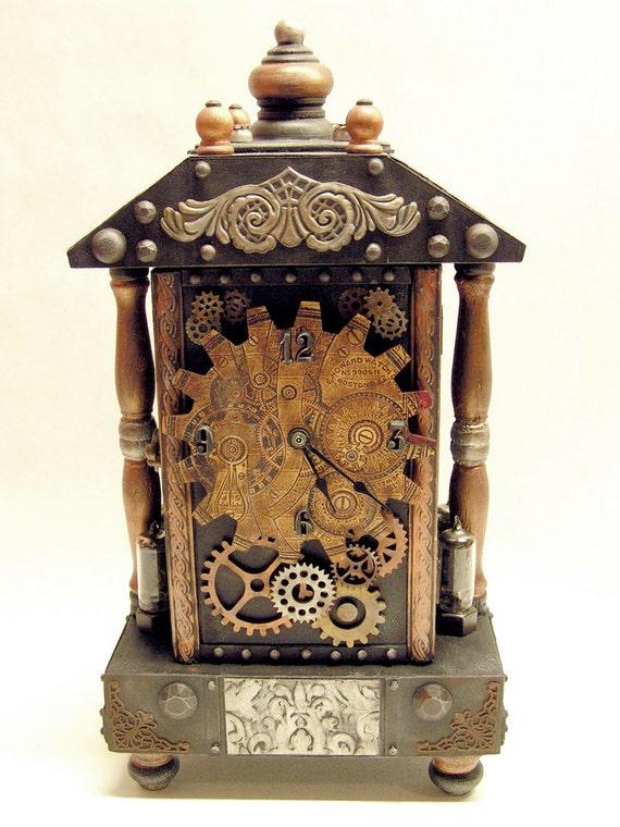 Steampunk assemblage art industrial style mantel clock - Steampunk mantle clock ...