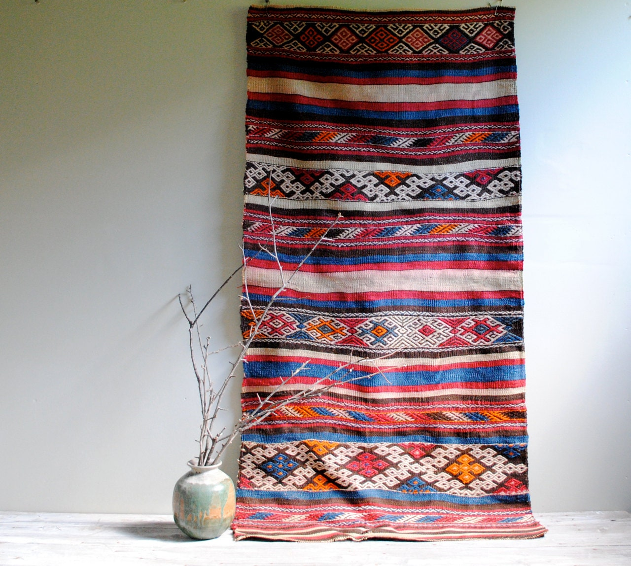 Vintage Turkish Kilim Rug From Sivas City / 5' By