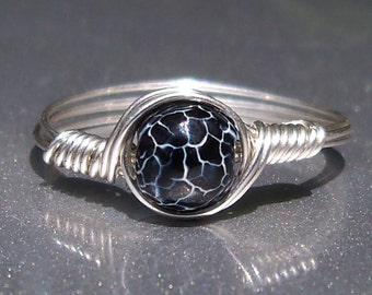 Black & White Effloresce Web Agate Argentium Sterling Silver Wire Wrapped Ring Custom Sized