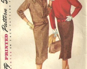Vintage Fifties Sewing Pattern from Simplicity 1719 // Skirt Jacket Suit // Size 16 Bust 36