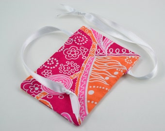 Reusable Pink and Orange Fabric Gift Bag - Gift Card/Jewelry Size