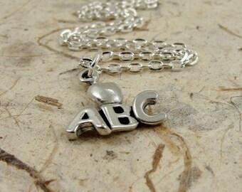 Teacher Necklace, Silver Teacher Apple Alphabet Charm on a Silver Cable Chain