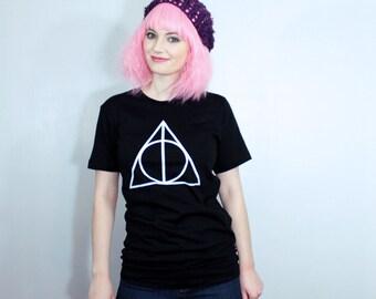 Deathly Hallows Shirt - Sizes Small-2XL - Black 100% Cotton Super Soft Harry Potter