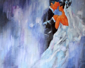 Unstretched - Custom Hand Painted Wedding Portrait - 30x30 Inches - Painting on Canvas