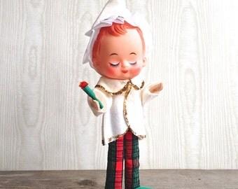 Vintage Pose Doll Elf Japan Wired Candle Plaid Pants Big Eyes