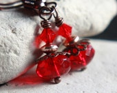 Red Czech Glass Bead Earrings - A.75