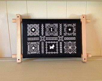 McDuff's Button Sampler - Blackwork Pattern, Instant Download, set of 6 biscornu
