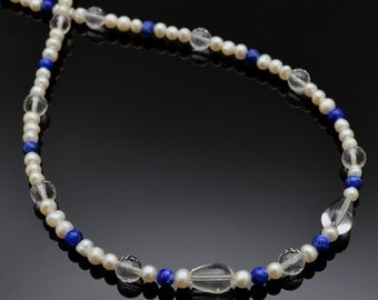 HARMONY Necklace - Beads of Freshwater Pearl, Lapis Lazuli and Clear Quartz. Adjustable Crystal Necklace for Tranquility and Purity
