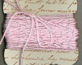20 yards shabby pink bakers twine  metallic sparkle hand made ribbon card french script gift  1055 . ....oohlala