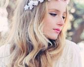 wedding flower bridal hair accessory pink roses hair wreath silk headpiece peachy pink silk flower, flower for hair