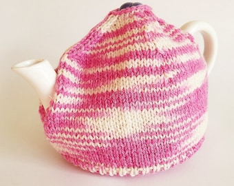 Hand Knit Tea Cosy, Hand Knitted Pink and Cream Tea Cosy / Tea Cozy Sweater
