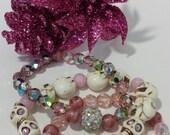 Stacking Bracelet, Pink Bead Bracelet, Skull Bracelet, Stretch Bracelet, Beaded Jewelry, Boho Jewelry, Bracelet Stack, Gemstone Bracelet