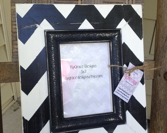 Black and White Chevron picture frame in sizes 2x3 up to 18x20 Select size at checkout