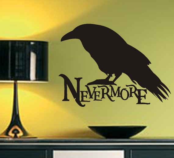 Nevermore Raven Silhouette, Vinyl Wall Lettering, Vinyl Wall Decals, Vinyl Letters, Vinyl Lettering, Wall Quotes, Raven Decal, Edgar A. Poe