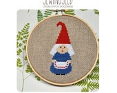 Little Old Lady Gnome Cross Stitch Pattern Instant Download