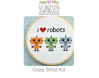 Robot Cross Stitch Kit, I love robots, DIY Kit, Easy Kit, Beginner Kit, Embroidery Kit, Perfect for ages 10 and up