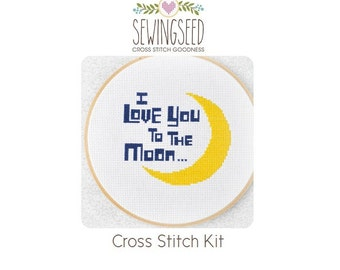 I Love You to the Moon Cross Stitch Kit, DIY Nursery Kit, Embroidery Kit