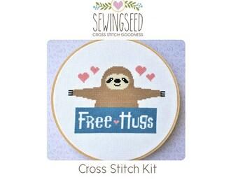 Sloth Free Hugs Cross Stitch Kit, DIY Kit, Embroidery Kit