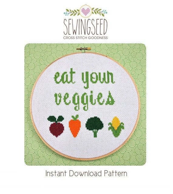 Eat Your Veggies Cross Stitch Pattern Instant Download