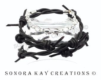 Black Leather Bracelet/ Barbedwire  Bracelet/ Gift Ideas for Men/ Bracelets For Him or Her/ Leather Gifts for Him/ Cool Gifts for Him