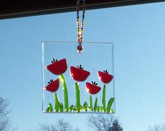 Tulip FLowers Fused GLass Suncatcher Poppy Poppies Red Sun Catcher