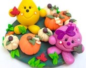 Autumn Pumpkin Patch Parker & Lolly Figurine - Polymer Clay Character StoryBook Scene Sculpture