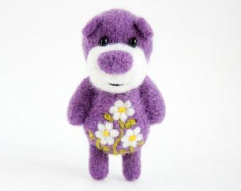 Needle felted miniature violet artist bear