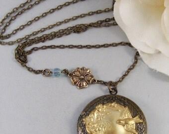 A Song For Hanna,Locket,Necklace,Brass Locket,Flower,Woodland,Bird,Bird Locket,Aquamarine. Handmade jewelery by valleygirldesigns on Etsy.