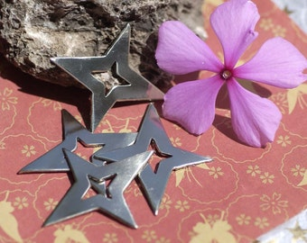 Nickel Silver Star 4 Pointed Stars with Star for Jewelry Metalworking Soldering Stamping Blank