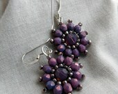 Lavender Purple Cyclamen Flower Beaded Earrings