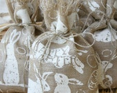 Burlap Gift Bags or Treat Bags, Set of FOUR, Easter, Shabby Chic Gift Wrapping, Jute Twine Tie, Off-White and Natural