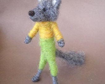 Needle Felted Animal, Wolf Boy, Felted Coyote, Waldorf Nature Table, Felted Toy, made to order