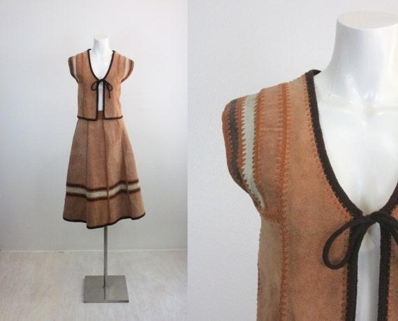 Vintage 60's 2 Piece Leather Vest & Skirt Set Sz M