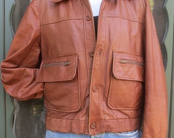 Vintage 1970's Man's Bomber-style Brown Leather Jacket - JB Europort -  size 42