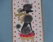 Vintage BUZZA-CARDOZO Black Poodle Flocked Christmas Card
