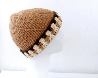SALE % 25 off Women Crochet Beanie Hat in Brown