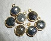 No dye Blue Sapphire Gold Pendant, Handmade Round Small Natural Blue Sapphire Charm, Dangle, Sweet and Subtle,l Rim Pendant, 12x9mm