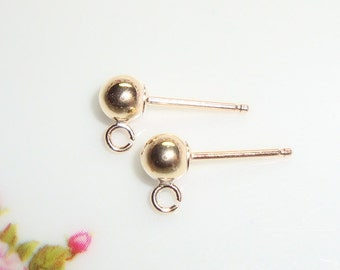 6 pcs, 3mm ball, 14K Gold Filled  5mm Round Bead Ear Post open Loop,EP-0051