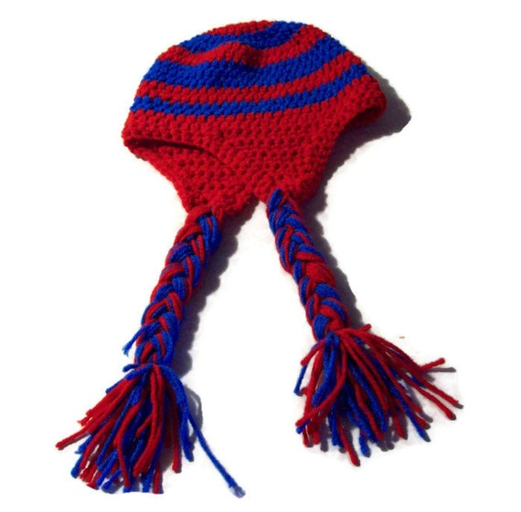 Red & Blue Earflap Hat Unisex Meduim Adult Hat