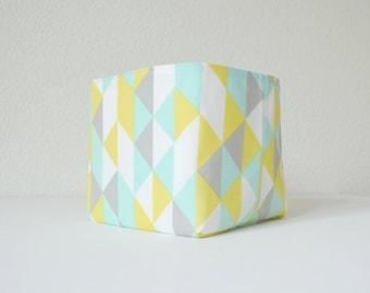 Organic Fabric Basket - Modern Geometric in Soft Gray, Yellow, Aqua and White