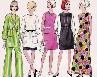 60s A Line Maxi Dress Tunic Skirt Pants & Shorts Pattern Vogue 7552 Vintage Sewing Pattern Size 12 Bust 34 Inches
