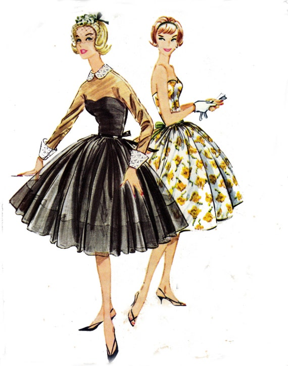 50s Full Skirt Dress & Sheer Overdress Pattern McCall's 5020 Vintage Sewing Pattern Prom Wedding Bridesmaids Gown Size 12 Bust 32 UNCUT  F F