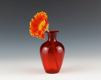 Red Bud Vase, Hand Blown Glass