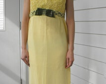 60s Yellow Formal Gown Vintage Party Dress Empire Long XS Petite
