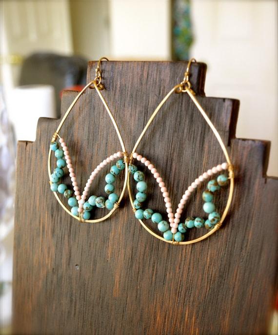 SALE-Emma Teardrop Earrings-  Semi Precious Turquoise & Pink Coral, 14K Gold Fill. Lotus, Boho Chic, Custom, Statement, Teardrop