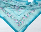 Aqua Blue and Pink Ditsy Floral Vintage Scarf