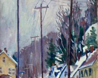 Houses, Poles, Snow. Oil Painting Landscape, 12x24 Oil on Panel, Impressionist Winter Plein Air Fine Art, Strip Framed, Signed Original