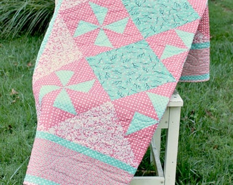 Teal Pink Lap Quilt, Throw Quilt, Damask, Polk Dots, Cherry Blossoms, Long Arm Quilted