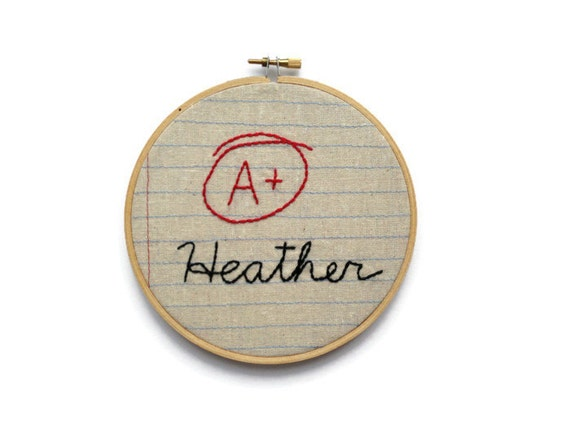 Custom Graduation Gift - A Plus - Six Inch Embroidery Hoop Wall Art - Hand Embroidered - Great Teacher or Student Gift